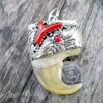 จี้เล็บเสือโคร่ง(เล็บใหญ่ สวย) ตัวเรือนเงินแท้ หนา ประดับกัลปังหาแดง