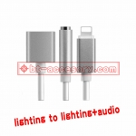 lighting to jack 3.5 aux cable and charging 2in1 cable for apple iphone7 up