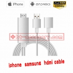 Lightning ios samsung s6/7 huawei P8/9 2in1 hdmi cable 80cm