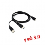 USB 3.0 มีusb 2หัว ต่อไฟเลี้ยงด้วย 0.5m -black