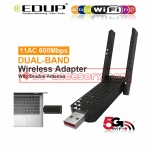 EDUP ตัวรับสัญญาณwifi USB 3.0 AC DUAL BAND WIFI 600MBPS WITH DOUBLE ANTENNAS EP-AC1625